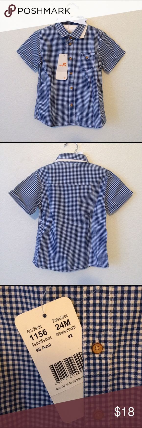 NWT Mayoral short sleeve baby boys button down Mayoral baby boys button down shirt. Blue and white plaid. Mayoral Shirts & Tops Button Down Shirts