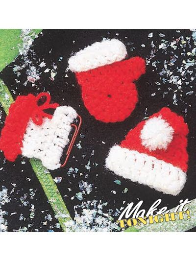 Christmas Pins  Show your holiday spirit with quick-as-a-wink pins made from scraps of yarn.  Designed by Dolly Dittler