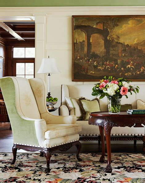 A linen covered settee and antique Chippendale chair feature nailhead trim  Traditional Home Photo Robert Brantley Design Jack Fhillips 73 best Palette Seeing Green images on Pinterest