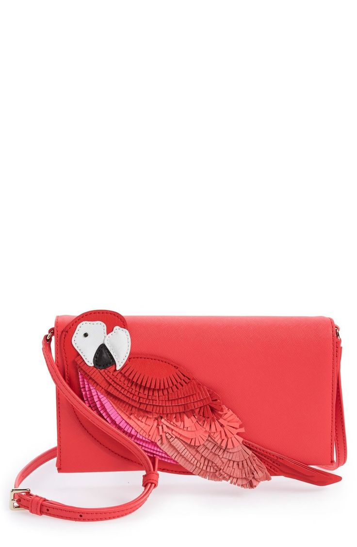So cute! A three-dimensional parrot appliqué adds a fresh, tropical twist to this streamlined crossbody bag from Kate Spade.