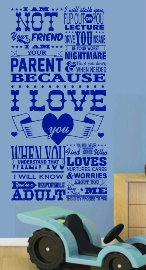 YOUR PARENT INSPIRATIONAL QUOTATION 1 WALL ART STICKER XLRG VINYL DECAL