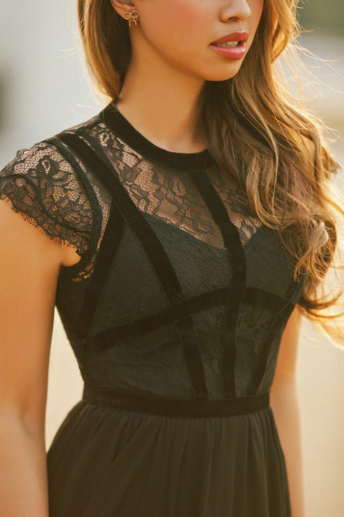 Asos black lace dress petite