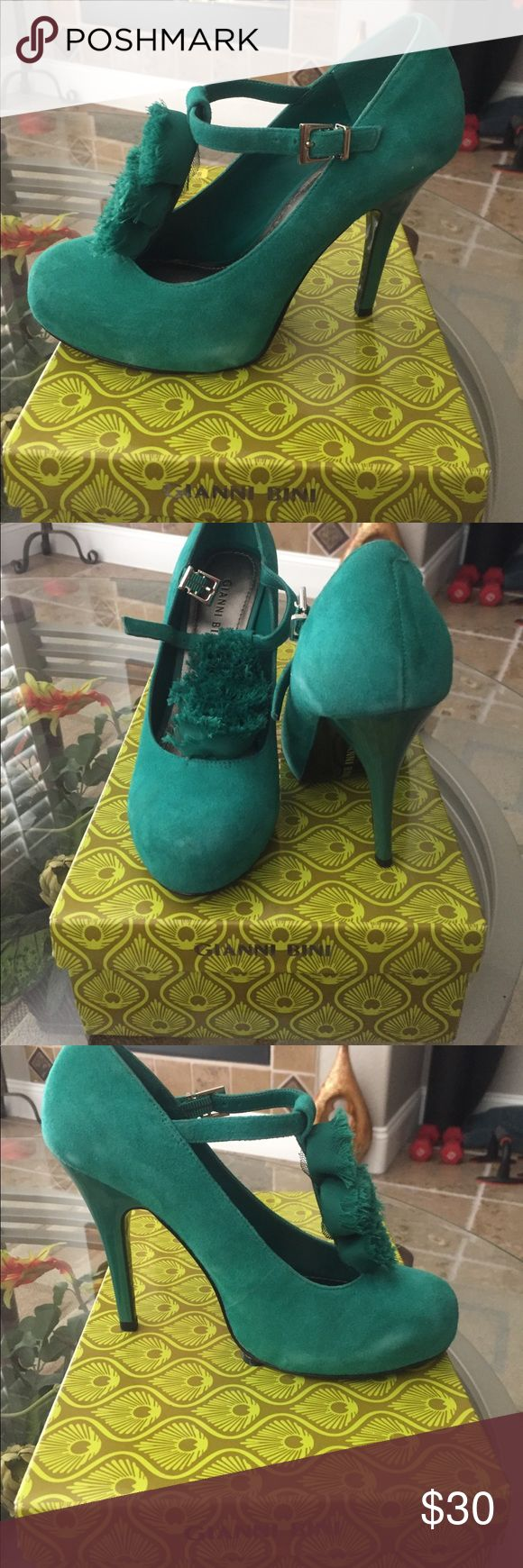 Cute Gianni Bini shoes Awesome sea green color. Suede shoes with cute details down the front of foot. Heel is patent leather. Same pretty green. Gianni Bini Shoes