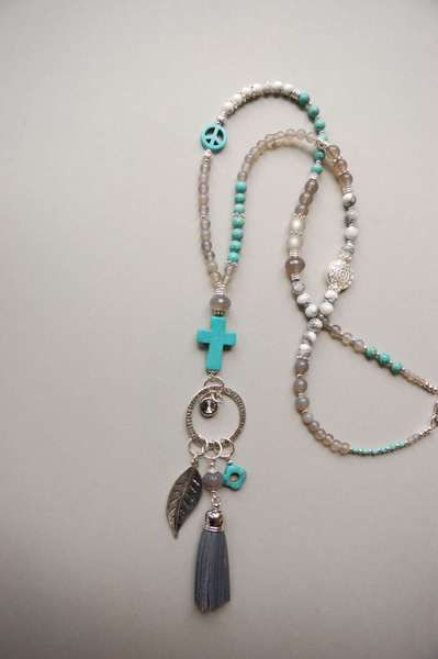 Y-KETTE★MAGNESIT Peace TÜRKIS Kreuz  von Juwelenkind® Schmuck-Unikate auf DaWanda.com 36.-