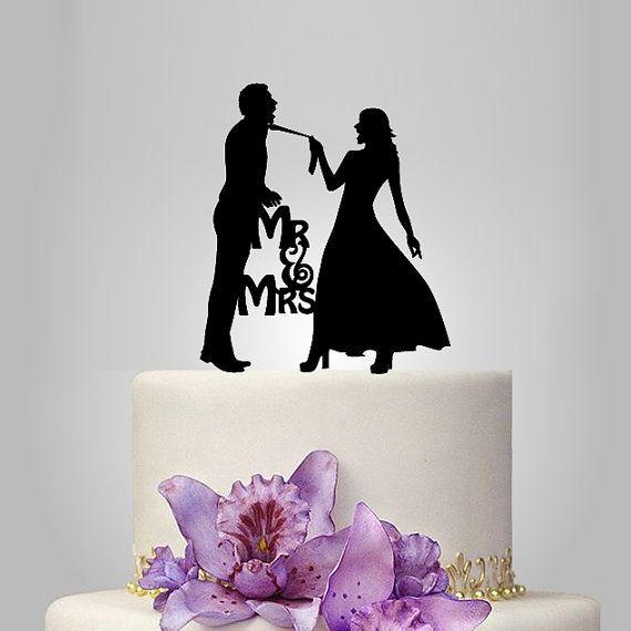 Lustige Hochzeitstorte Topper Monogramm Cake Topper von walldecal76