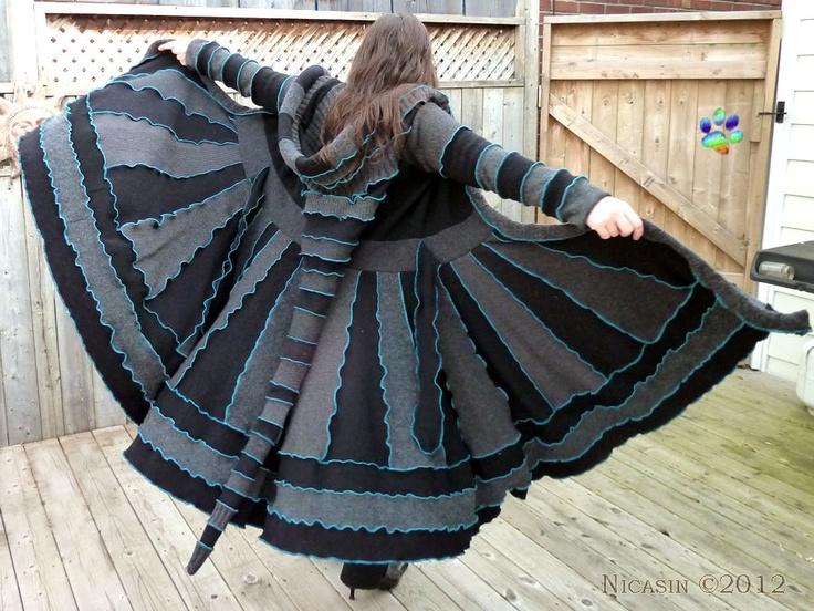 I want a coat like this soooo bad-Game of Thrones Merino Dragon Sweater Coat Wool Fairy Lambswool Sweater Dress Dream Coat Recycled Upcycled Boho Chic Black Grey Turquoise. $375.00, via Etsy.