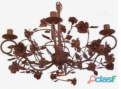 Lustre colonial flores 6 lâmpadas 80diam x 50alt.