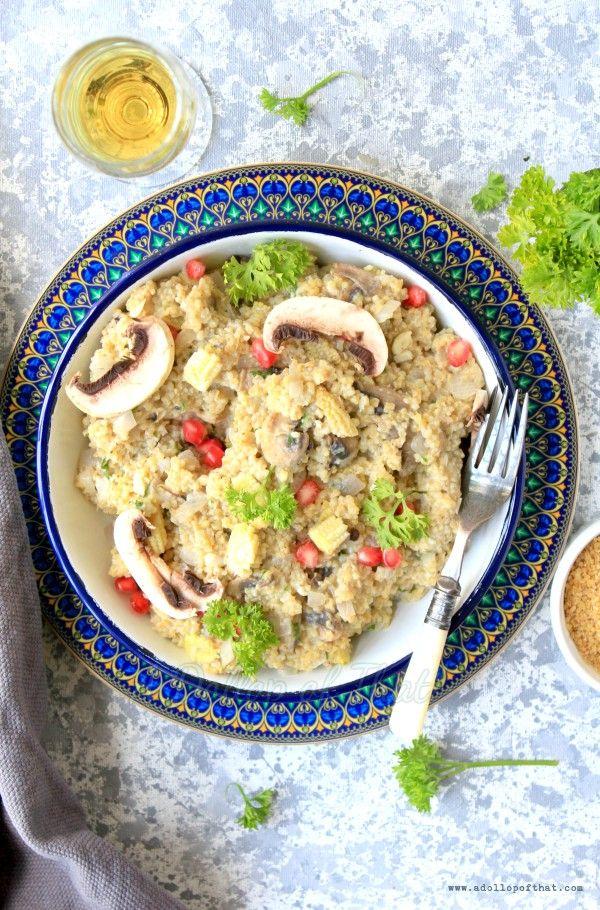 Broken Wheat (Daliya) Risotto with Mushrooms and Baby Corn