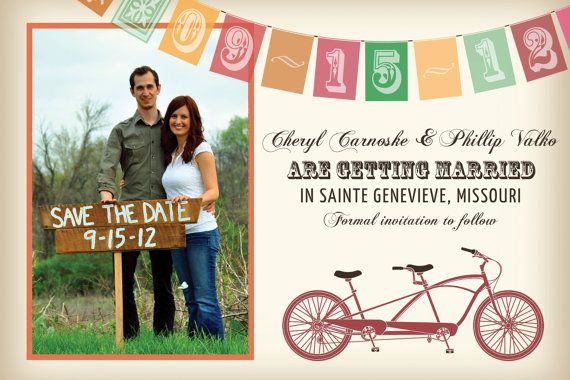 Vintage Tandem Bicycle Save the Date Cards Bike by vohandmade