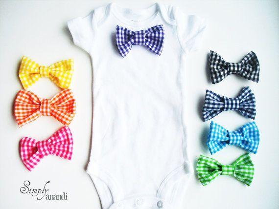Baby Boy Bow Tie Onesie--Detachable Bow tie Onesie--Spring Baby Boy--Gingham--You choose 3 bow ties with 1 Onesie
