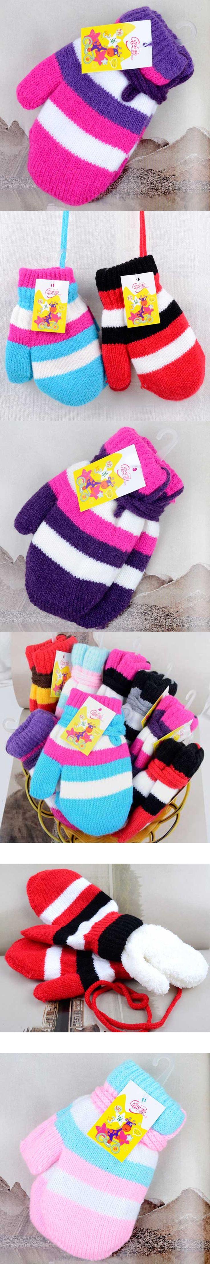 Children Winter Gloves Cute Striped Glove Girls Boys Pack Finger Halter Mittens Thicken Warm Knit Wool Kids Accessories 8Color