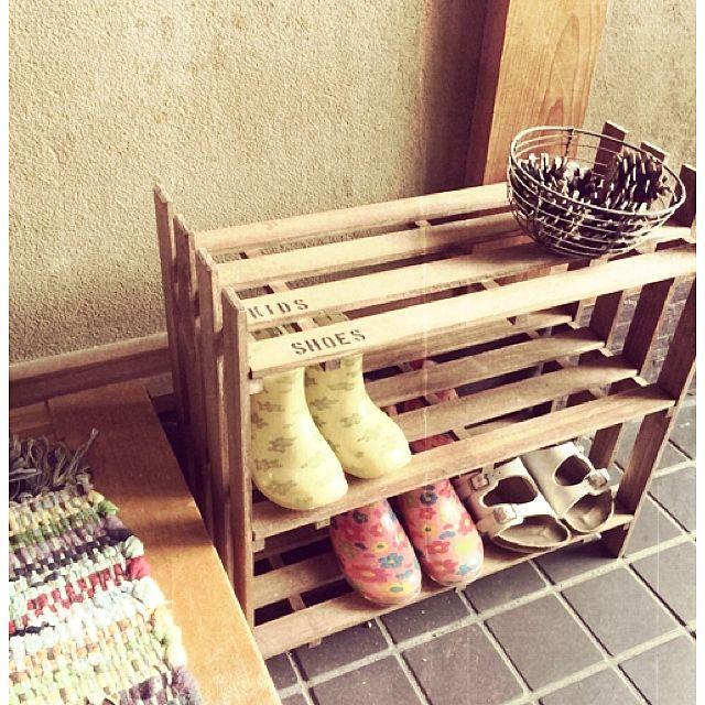 シューズラックDIY/中古住宅/セリア/ステンシル/すのこ/DIY…などのインテリア実例 - 2014-08-17 17:30:16 | RoomClip(ルームクリップ)