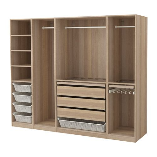 IKEA PAX Wardrobe White stained oak effect 250x58x201 cm 10 year guarantee. Read about the terms in the guarantee brochure.
