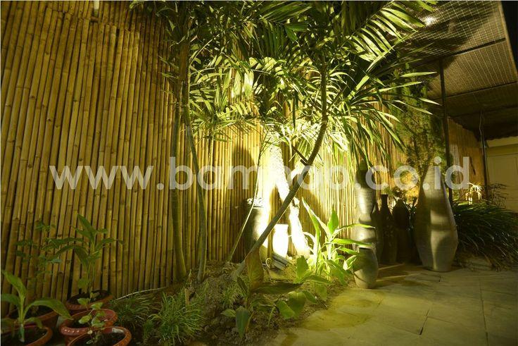 Natural Bamboo Fence Rolls Installation – Night
