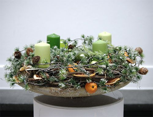 green & natural Xmas wreath - Adventskranz  grünn & natur