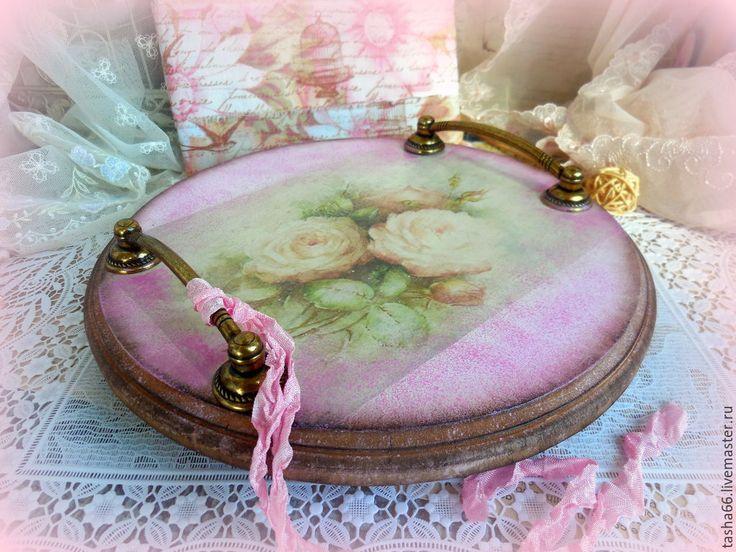 """Купить """"Для тебя."""" Поднос деревянный - розовый, поднос для кухни, ручная работа"""