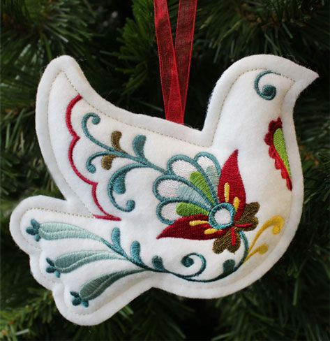 Christmas Dove Ornament (In-the-Hoop) design (X11739) from www.Emblibrary.com