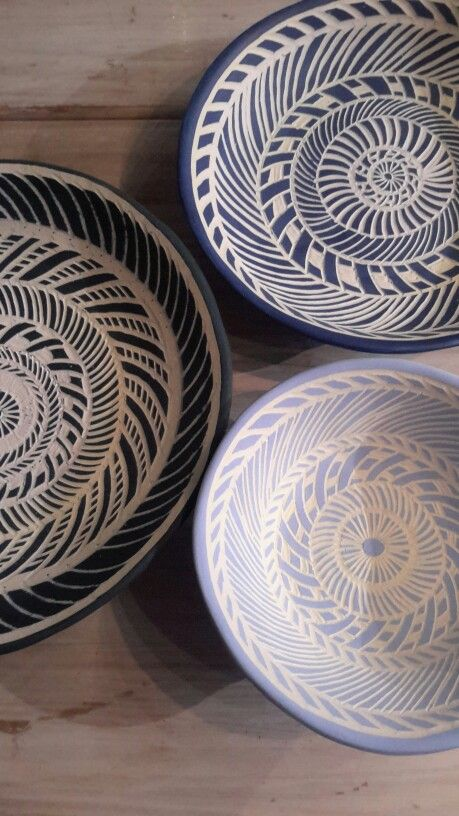 Three bowls different shades of blue and unglazed Would love to leave them matt will post again once they are glazed