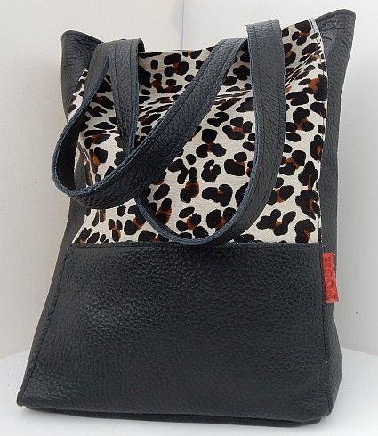 -Shopper zwart leer en luipaardprint