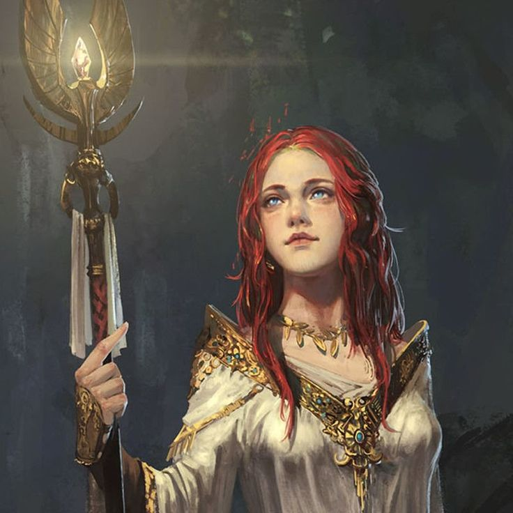 Red hair, white gown, staff, priestess, cleric, female, woman, girl.