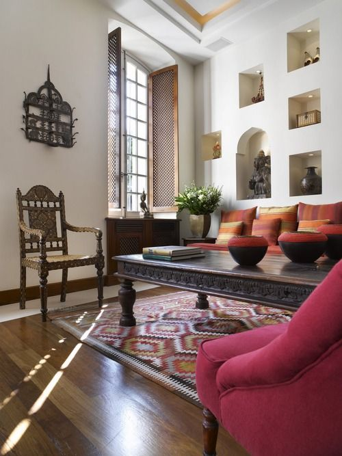 Heavy Furniture Sparse But Vibrant Patterned Floor Covering Clean White Walls Spanish Colonial DecorIndian Living RoomsEthnic RoomIndian