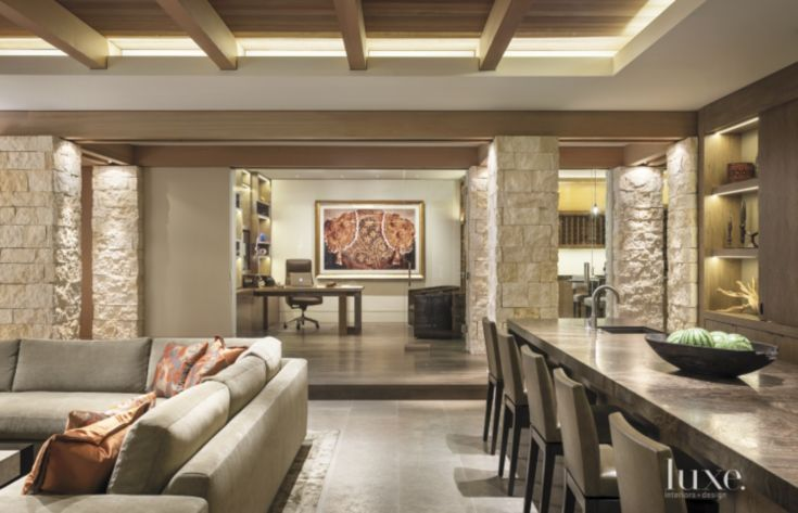Modern Neutral Open Plan Family Room like spacing and lighting furniture should be more modern flooring - wood