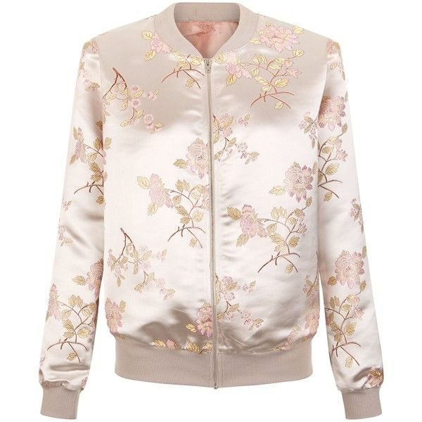New Look Cameo Rose Pink Floral Embroidered Satin Bomber Jacket ($40) ❤ liked on Polyvore featuring outerwear, jackets, pink pattern, satin bomber jacket, patterned bomber jacket, flight jacket, blouson jacket and zip front jacket