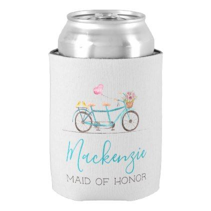 Watercolor Tandem Bicycle Can Cooler - home gifts ideas decor special unique custom individual customized individualized