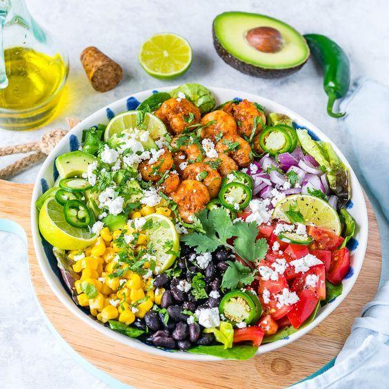 Avocado-Lime Shrimp Taco Salad is Clean Eating Success! - Clean Food Crush