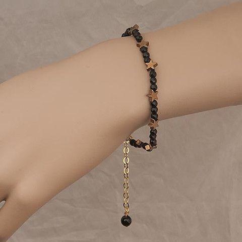 Handmade Black Crystal Bracelet With Gold Stars  At Anthoshop.com