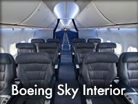 Inspirado por una investigación de opiniones de pasajeros, el diseño de la cabina de Boeing Sky Interior redefine la experiencia a bordo del 737 de principio a fin. El nuevo Sky Interior incluye más espacio para equipaje, unidades de servicio mejoradas, controles para los agentes de servicio más modernos y una decoración más atractiva.