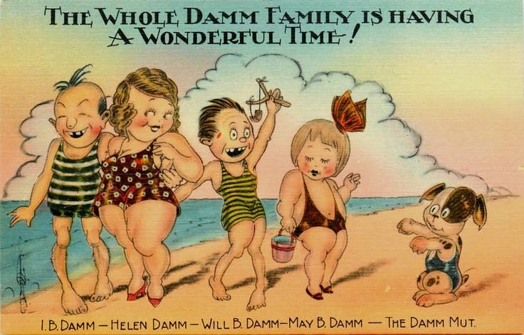 Walter Wellman Comic 1940s Damm Family at Beach Vintage Linen Postcard   eBay