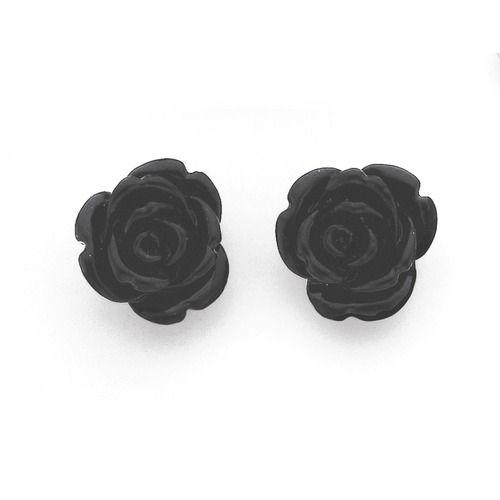 Sterling Silver Black Rose Studs