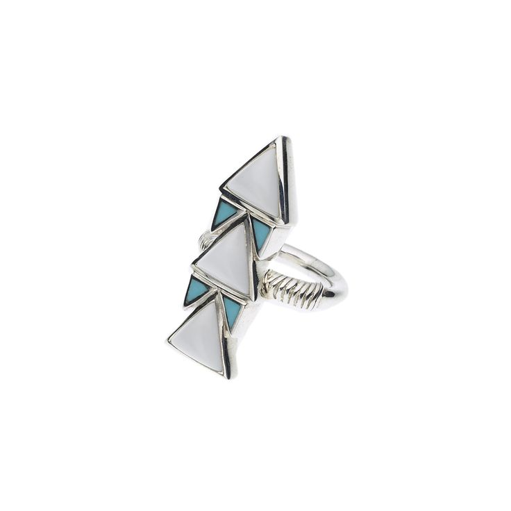 PUSHMATAAHA // SPEARHEAD RING in White Agate and American Turquoise with 925 Sterling Silver