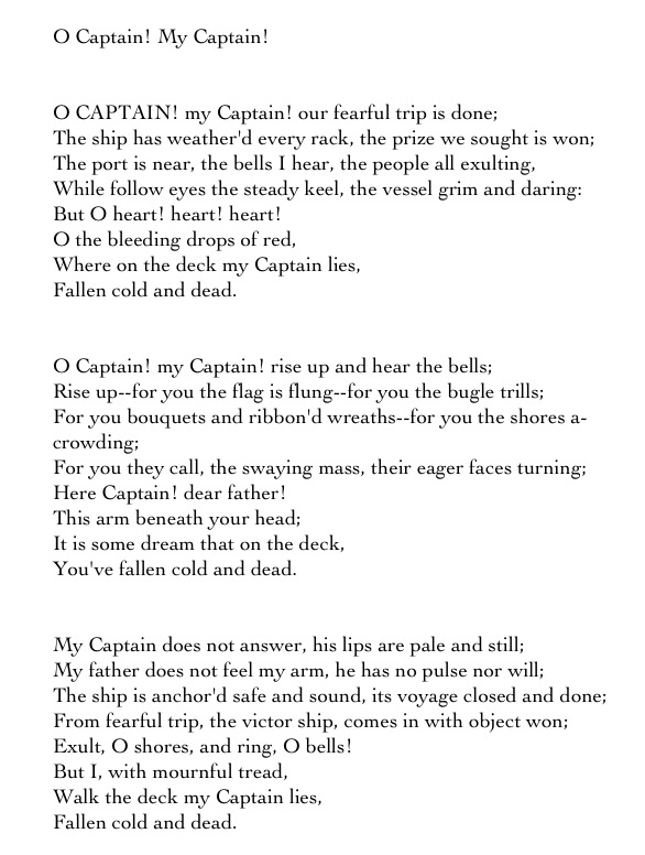 o captain my captain and the Definition of o captain my captain – our online dictionary has o captain my captain information from literary themes for students dictionary encyclopediacom: english, psychology and.