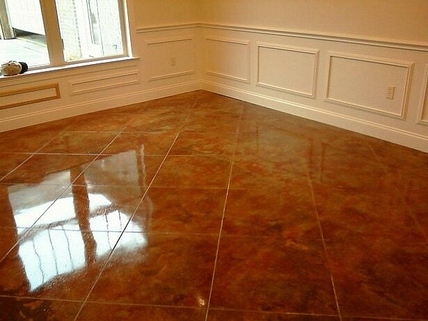 Stain concrete floors indoors pictures con cr ete for How to care for stained concrete floors