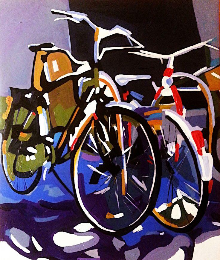 Bisikletler II (Bicycles II) by Burak Erim TÜA / #AcryliconCanvas 100cm x 100cm  #gallerymak #sanat #ig_sanat #resim #akrilik #tuval #bisiklet #istanbul #spor #painting #acrylicpainting #artforsale #contemporaryart #arte #kunst #artbasel #istanbulmodern #artist