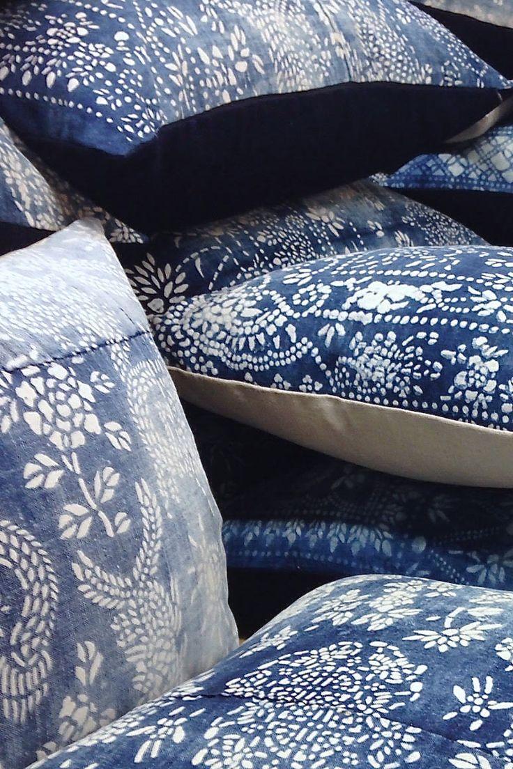 LuRu Home Vintage Chinese Indigo Batik (or Nankeen) Pillows