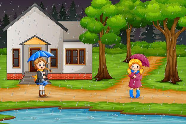 Dessin Anime Deux Fille Portant Un Parapluie Sous La Pluie Dessin Anime Sous La Pluie Dessin