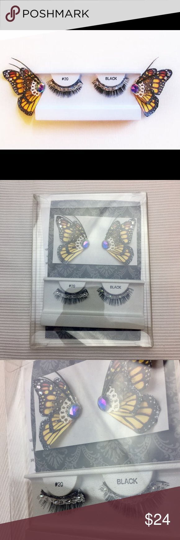 Monarch butterfly eyelashes- custom/handmade Monarch butterfly  eyelashes- custom/handmade. Bought these for a costume but I was too lazy and didn't end up doing it. They're amazing! make an offer! Makeup False Eyelashes