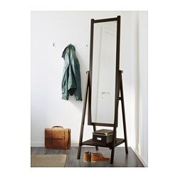 IKEA - ISFJORDEN, Standing mirror, white stain, , Provided with safety film - reduces damage if glass is broken.You can hang your belts, bags and accessories from the knobs on the side.Suitable for use in most rooms, and tested and approved for bathroom use.Made of solid wood, which is a hardwearing and warm natural material.