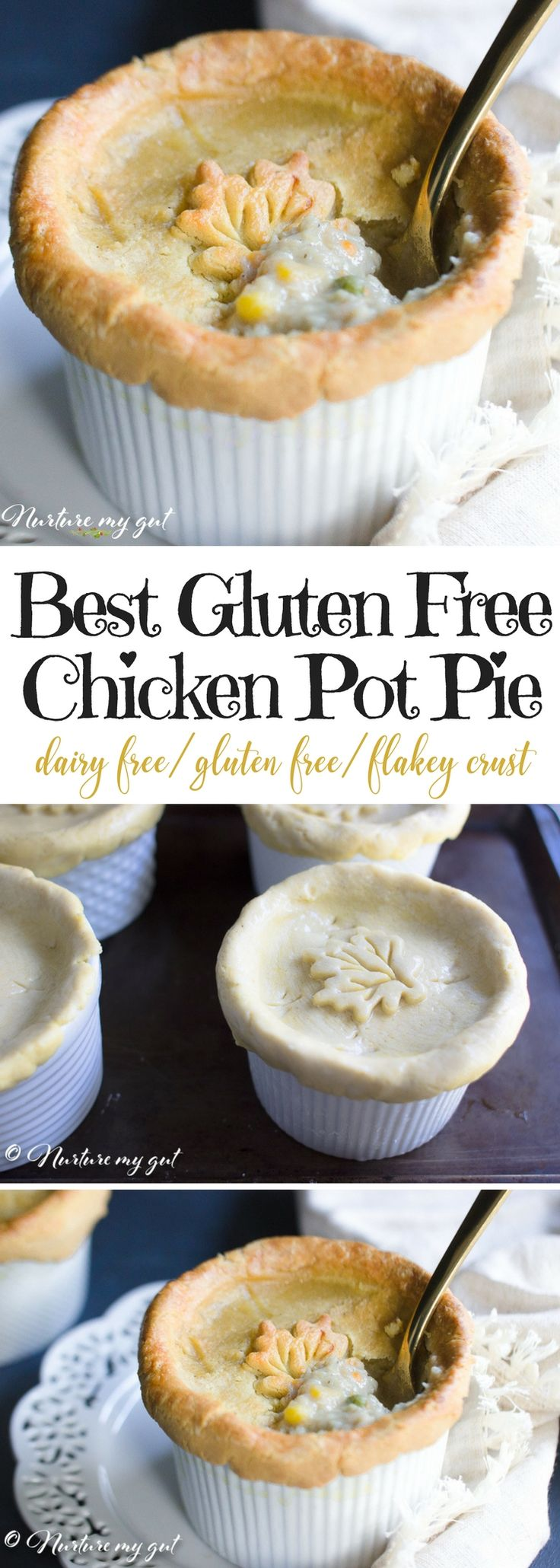 Best Gluten Free Chicken Pot Pie Recipe. This homemade gluten free chicken pot pie is the ultimate comfort food! Recipe has modifications for ramekins or 9''pot pies. Gluten free & dairy free. Made with a homemade flakey gluten free crust.
