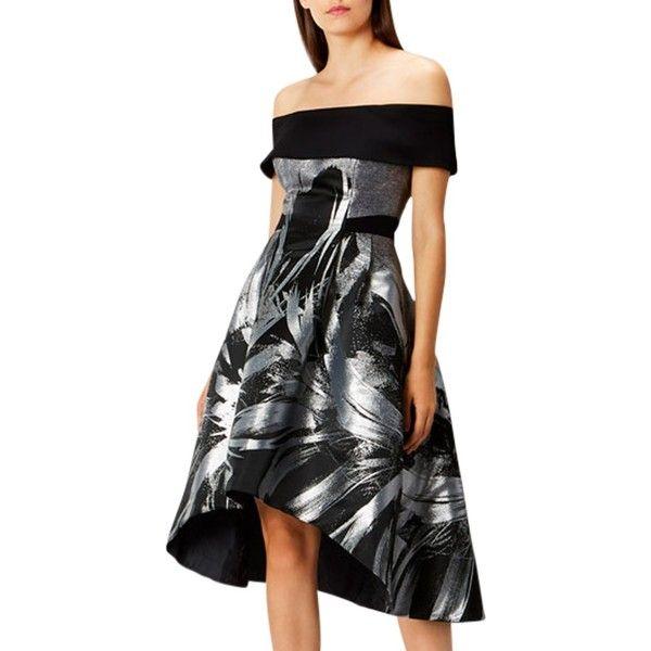 Coast Echo Petite Jacquard Full Dropped Hem Midi Dress ($130) ❤ liked on Polyvore featuring dresses, gowns, petite, maxi dress, metallic maxi skirt, short sleeve maxi dress, print maxi dress and maxi skirt
