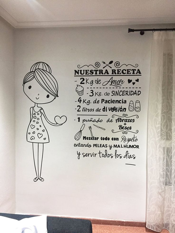 Vinilo decorativo de Nuestra receta con una simpática niña con corazones.