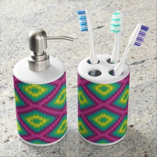 Color Pixel Toothbrush Holder & Soap Dispenser Set