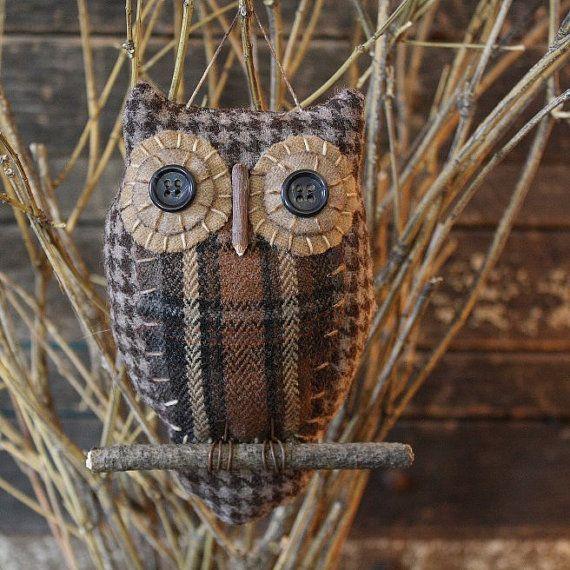 Primitive Owl Folk Art Ornie by rockriverstitches on Etsy