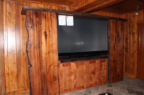 Entertainment Center Live Edge And Rustic Style