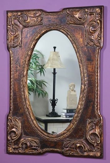 Small Southwestern Inspired Decorative Wall Mirror with Tarnished Bronze Tone Frame - Marbella Provencal