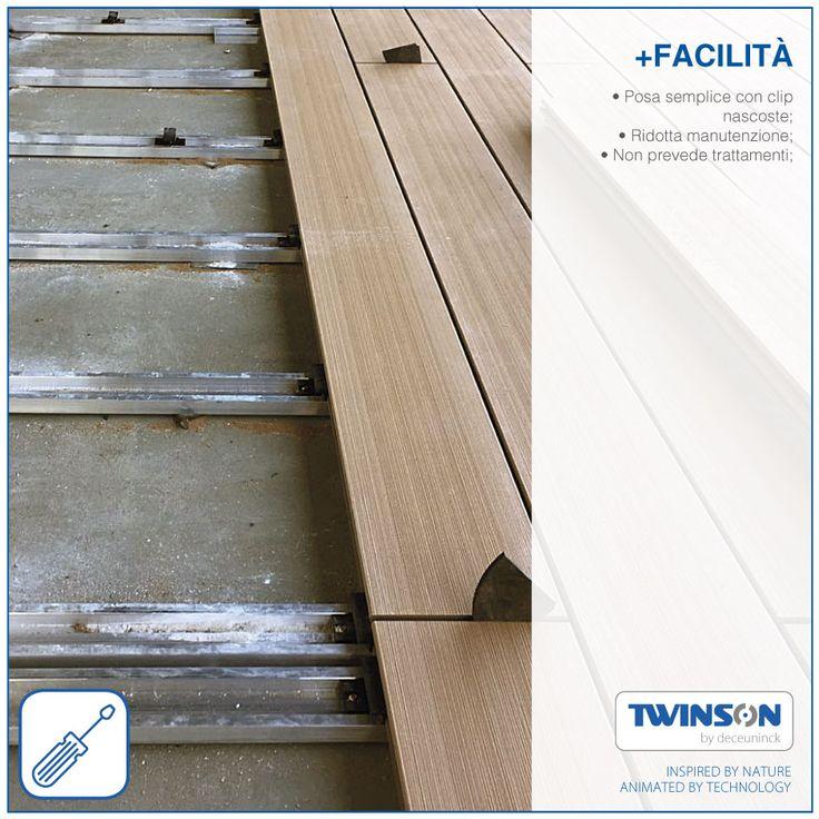 + FACILITÀ • Posa semplice con clip nascoste;  • Ridotta manutenzione; • Non prevede trattamenti;  #Twinson #legnocomposito #wpc #design #montaggio
