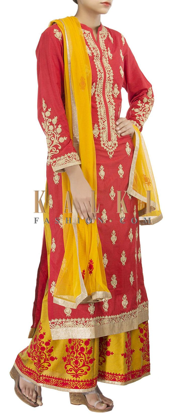 Buy Online from the link below. We ship worldwide (Free Shipping over US$100) http://www.kalkifashion.com/straight-fit-suit-in-mustard-adorn-in-zari-embroidery-only-on-kalki-15572.html